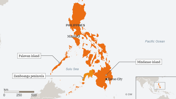 Map of Philippines highlights Mindanao.