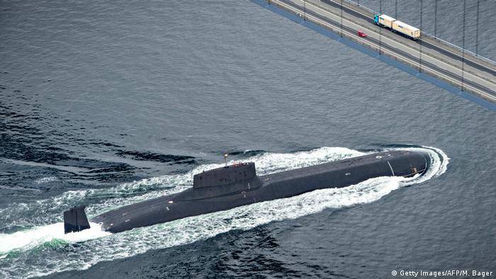 A Russian submarine sailing through Danish waters