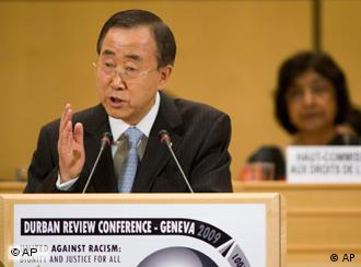 United Nations Secretary-General Ban Ki-moon delivers his speech during the opening of the Durban review Conference at the European headquarters of the United Nations in Geneva, Switzerland