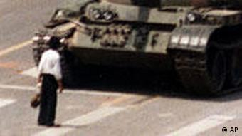 1989: a student blocks a line of tanks near Tiananmen Square