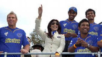 Bollywoodschauspielerin Shilpa Shetty mit Cricketspieler
