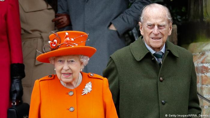 Queen Elizabeth II and her husband Prince Philip leave church in 2017