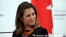 Ukraine | Kanadische Außenministerin Chrystia Freeland auf einer Pressekonferenz in Kiew