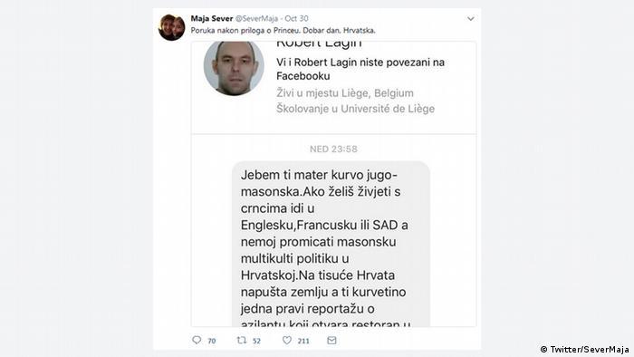 Screenshot Twitter Morddrohung gegen Maja Sever (Twitter/SeverMaja)