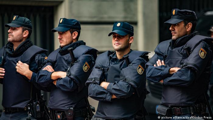 Thousands of Spanish Guardia Civil and national police officers were deployed to Catalonia for the October referendum.