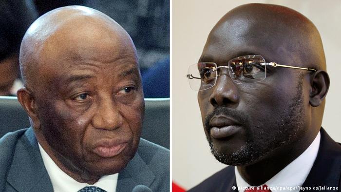 Liberia Wahlen Joseph Boakai (l) und George Weah (R)