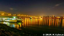 Night view of the Rhein River at Bonn in Germany.
