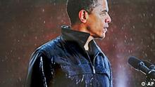 This photo released by the Pulitzer Board is an example of the work of New York Times staff photographer Damon Winter, winner of the 2009 Pulitzer Prize for Feature Photography, Monday, April 20, 2009. The photo shows Barack Obama speaking to a crowd in Chester, Pa. during a rainstorm. (AP Photo/Pulitzer Board) **NO SALES**
