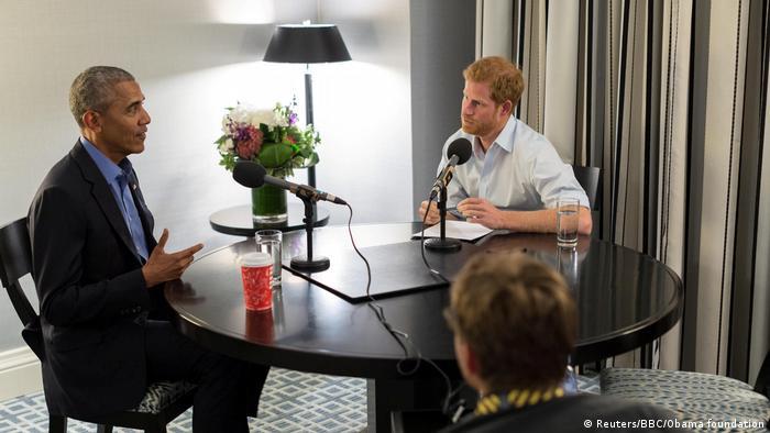 Ex-presidente americano Barack Obama em entrevista ao príncipe Harry
