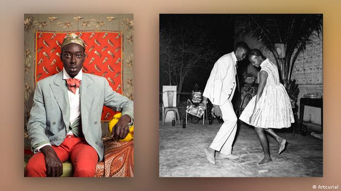 Self-portrait of Omar Victor Diop (left) and a photo in black and white by Malick Sidibé (rechts). (Artcurial)