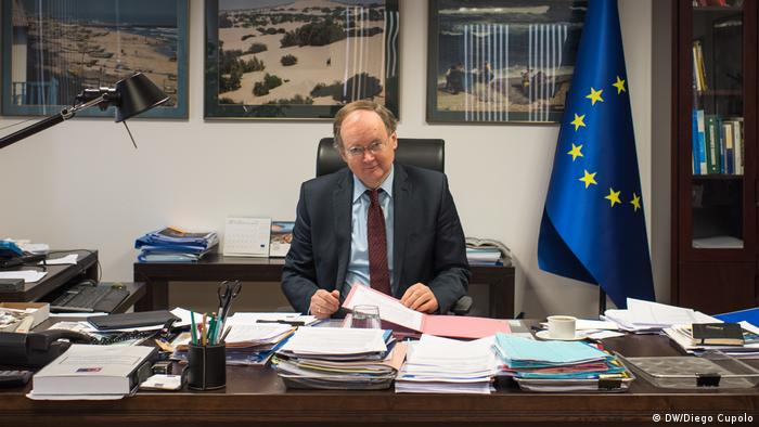 Christian Berger, ambassador of the EU delegation to Turkey, at his desk in Ankara