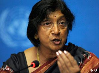 UN High Commissioner for Human Rights Navanethem Navi Pillay speaks during a press conference after the opening of the Durban Review Conference (UN's Conference against Racism) at the European headquarters of the United Nations, UN, in Geneva, Switzerland, Monday, April 20, 2009. The Durban Review Conference, to be held in Geneva, Switzerland, 20-24 April 2009, will evaluate progress towards the goals set by the World Conference against Racism, Racial Discrimination, Xenophobia and Related Intolerance in Durban, South Africa, in 2001. (AP Photo/KEYSTONE/Laurent Gillieron)
