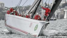 26th December 2017, Sydney Harbour, Sydney, Australia; Sydney to Hobart Yacht Race, Wild Oats XI (NSW) skippered by Mark Richards make last minute changes before race start |