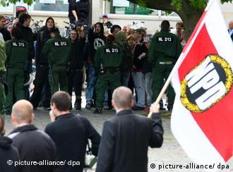 Far-right demonstrators in Zwickau
