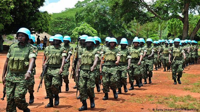 Soldiers with the Uganda People Defence Forces (UPDF) parading