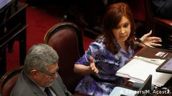 Cristina Kirchner durante una intervención ayer en el Senado.