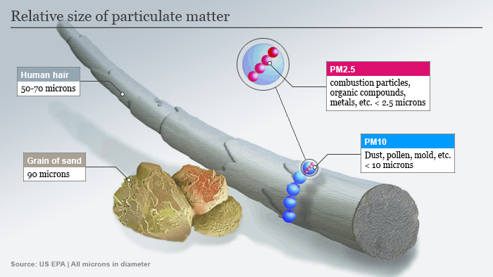 Infografik Größe von Feinstaubpartikeln ENG