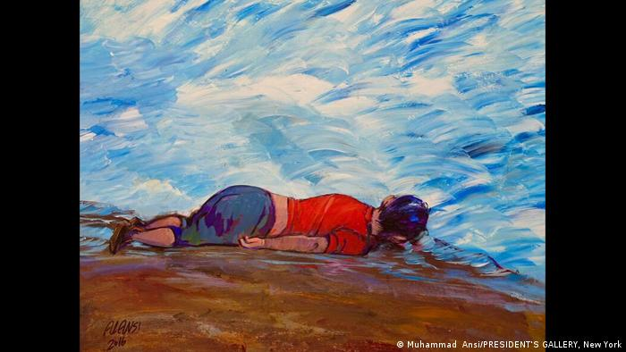 Drowned Syrian Refugee Child by Muhammad al-Ansi from the exhibition Art from Guantanamo
