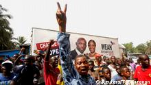 Supporters of George Weah, former soccer player and presidential candidate of Coalition for Democratic Change (CDC), celebrate after the announcement of the presidential election results in Monrovia, Liberia December 28, 2017. REUTERS/Thierry Gouegnon
