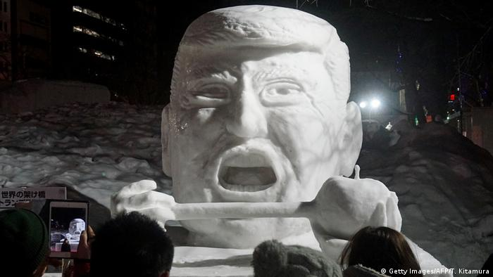 snow statue of US President Donald Trump