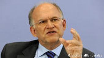 Peter Schaar, who heads Germany's Data Protection and Freedom of Information Commission, speaks at a press conference