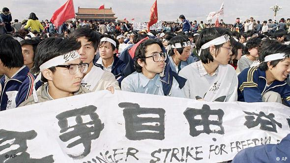 University students sit in Tiananmen Square on Saturday, May 13, 1989 in Beijing on a hunger strike for freedom and democracy. The students vow to sit until the arrival of Soviet leader Mikhail Gorbachev on Monday. (AP Photo)