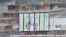 Ausstellung: ART from Guantánamo, Ansi Hands Holding flowers through bars