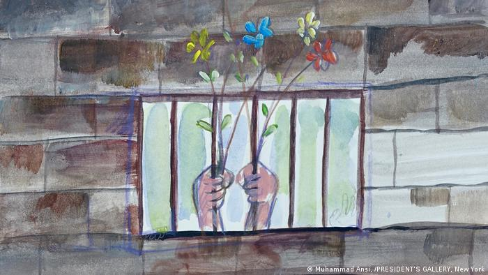 Hands Holding flowers through bars from the exhibition Art from Guantanamo