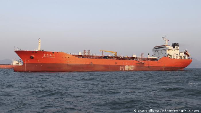 Südkorea Beschlagnahmtes Schiff Lighthouse Winmore (picture-alliance/AP Photo/Yonhap/H. Min-woo)