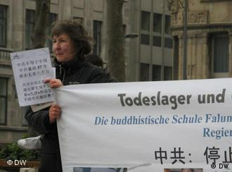 Protests against the persecution of Falun Gong followers take place regularly in German cities