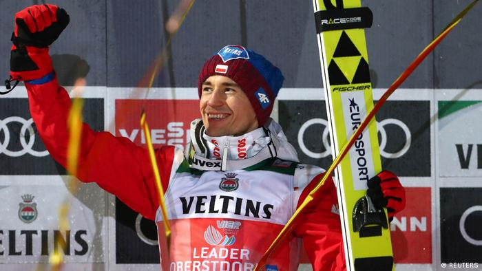 Poland's Kamil Stoch reacts (REUTERS)