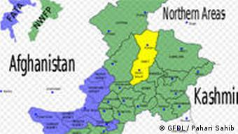 Map showing the location of Swat District (highlighted in yellow) within the North-West Frontier Province (NWFP) of Pakistan.