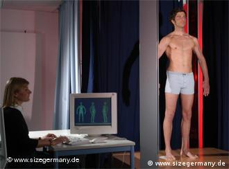 a man having his measurements taken in 3D scanner technology.