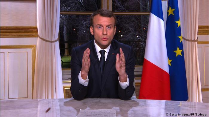 Emmanuel Macron's new year's address (Getty Images/AFP/Stringer)