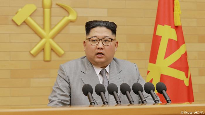 North Korea's leader Kim Jong Un during a New Year's Day speech