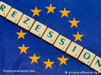 Picture shows the blue and gold-starred EU flag with the word recession printed across it