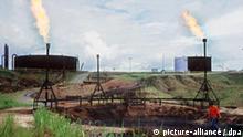 Blick auf ein Ölcamp mit großen Tanks, wo einst dichter Urwald stand. Vorne rechts ein unbefestigter Erdöl-See.