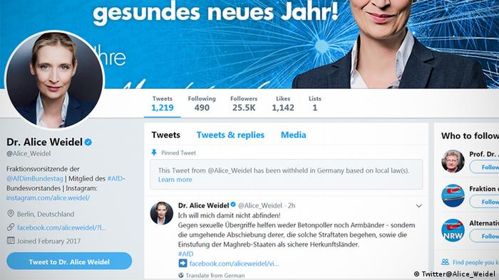 Screenshot of AfD parliamentary group leader Alice Weidel's Twitter homepage (@alice_weidel), taken on 02.01.2018. The pinned tweet at the top of the account is one that has been withheld in Germany based on the new NetzDG law, which came into force on January 1.