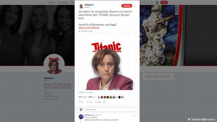 Screenshot Twitter Titanic feat. Alice Weidel