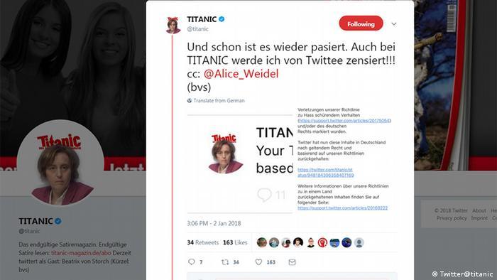Screenshot Twitter Titanic feat. Alice Weidel Tweet Sperre (Twitter@titanic)
