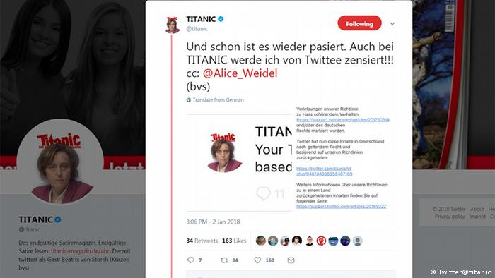 Screenshot of a Tweet from German satirical news outlet Titanic, made in the name of a prominent AfD politician, Beatrix von Storch.