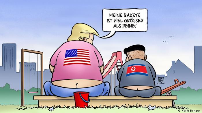 Карикатура Харма Бенгена на Дональда Трампа и Ким чен Ына