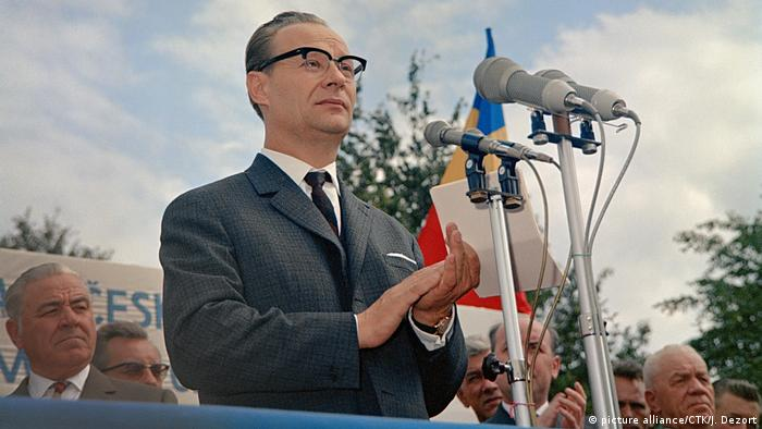 Alexander Dubcek addresses workers days before the Warsaw Pact invasion of Czechoslovakia