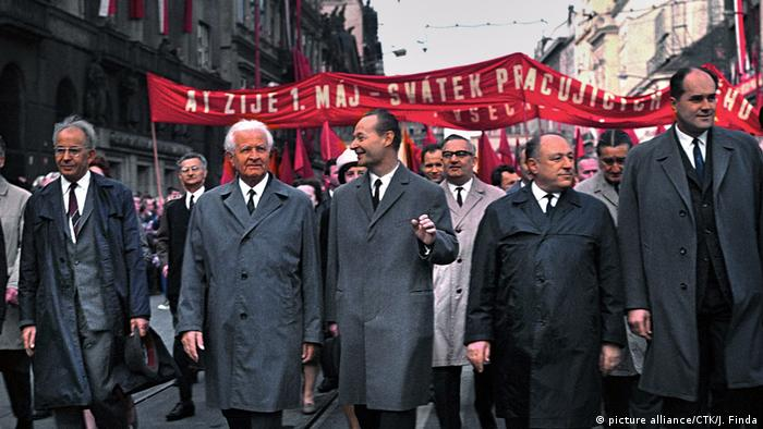 Communist leaders march alongside Alexander Dubcek at the 1968 May Day parade in Prague