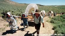 USA Mormonen in Utah - Bergpass in Wyoming mit Handkarren