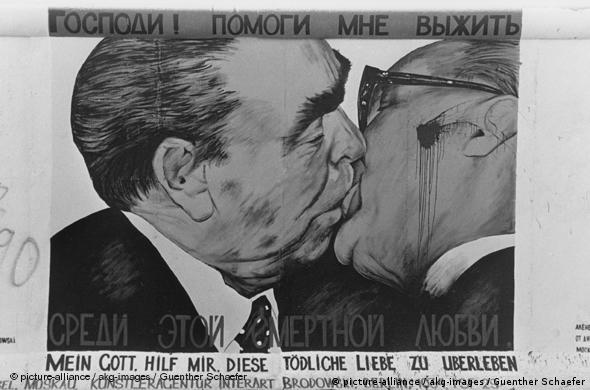 'Bruderkuss' painting at the East Side Gallery, photographed in 1990