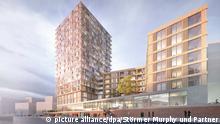 HANDOUT- ILLUSTRATION - Eine Visualisierung zeigt das geplante Holz-Hochhaus in der Hafencity in Hamburg. Hamburg plant ein 64 Meter hohes Hochhaus aus massivem Holz und will damit zu internationalen Metropolen wie Wien, Amsterdam und Vancouver aufschließen. ACHTUNG: Verwendung nur zu redaktionellen Zwecken im Zusammenhang mit der aktuellen Berichterstattung und bei vollständiger Nennung der Quelle: Foto: -/Störmer Murphy und Partner GbR/dpa +++(c) dpa - Bildfunk+++ |