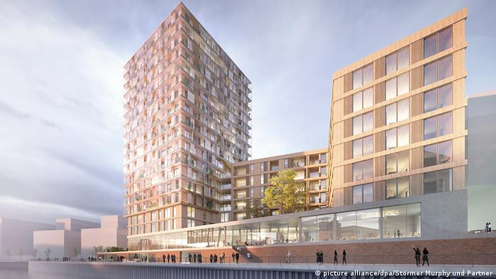 Visualization of a wooden skyscraper planned for Hamburg's Hafencity