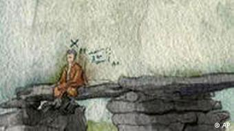 Self portrait of Hitler sitting on a stone bridge arching across a stream