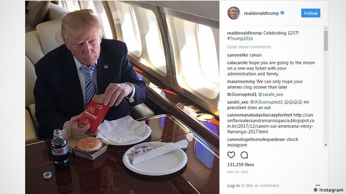 Screenshot of Donald Trump's Instagram page, showing a post of him eating a BigMac from McDonald's